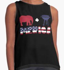 Funny Elephant plus Barbeque Merica American Flag Blusa sin mangas