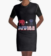 Funny Elephant plus Barbeque Merica American Flag Vestido camiseta