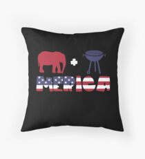 Funny Elephant plus Barbeque Merica American Flag Cojín