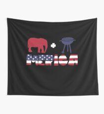 Funny Elephant plus Barbeque Merica American Flag Tela decorativa