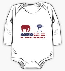 Funny Elephant plus Barbeque Merica American Flag Body de manga larga para bebé