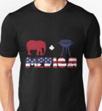 Funny Elephant plus Barbeque Merica American Flag Camiseta ajustada
