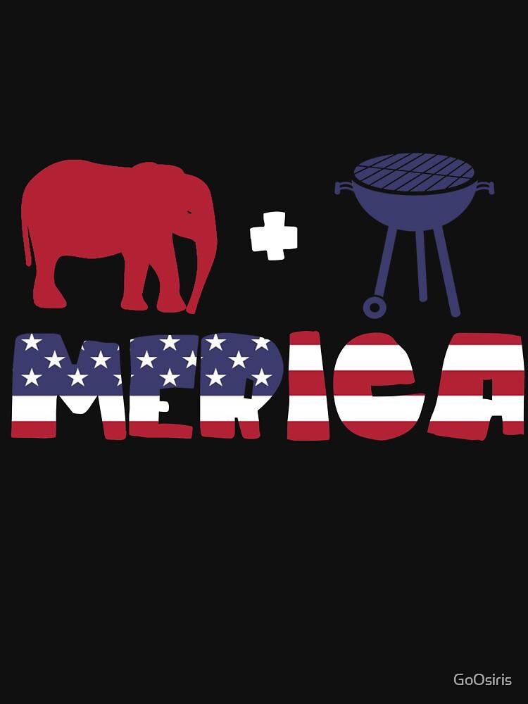 Funny Elephant plus Barbeque Merica American Flag de GoOsiris