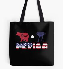 Funny Bear plus Barbeque Merica American Flag Bolsa de tela
