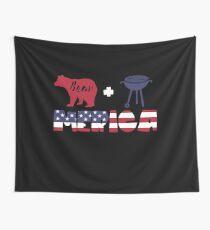 Funny Bear plus Barbeque Merica American Flag Tela decorativa