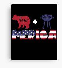 Funny Bear plus Barbeque Merica American Flag Lienzo