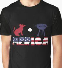 Cat plus Barbeque Merica American Flag Camiseta gráfica