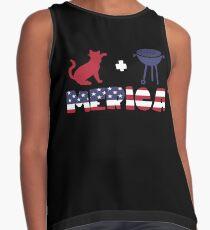 Cat plus Barbeque Merica American Flag Blusa sin mangas