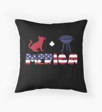 Cat plus Barbeque Merica American Flag Cojín