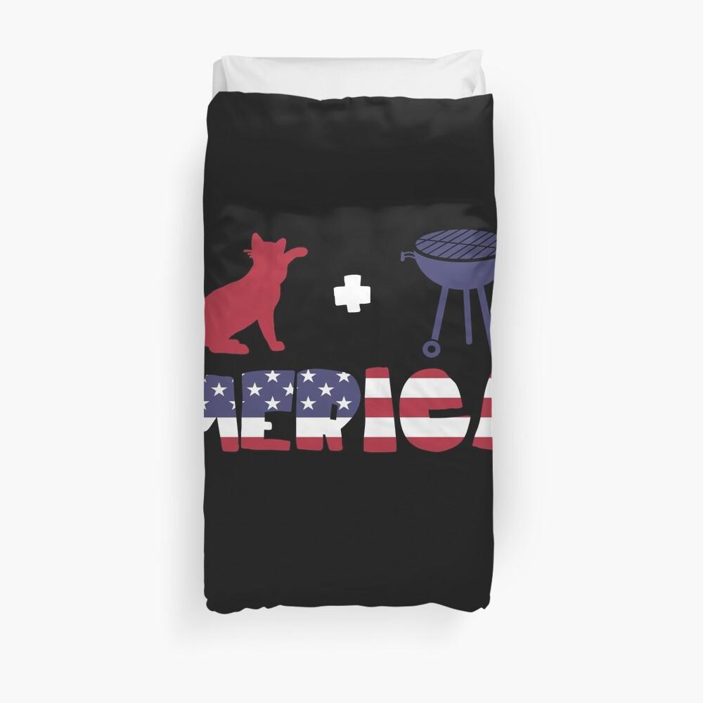 Cat plus Barbeque Merica American Flag Funda nórdica