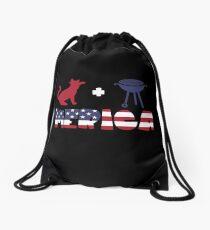 Cat plus Barbeque Merica American Flag Mochila saco