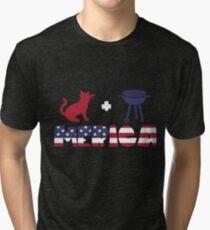 Cat plus Barbeque Merica American Flag Camiseta de tejido mixto