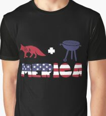 Foxplus Barbeque Merica American Flag Camiseta gráfica