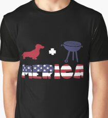 Funny Dachshund plus Barbeque Merica American Flag Camiseta gráfica