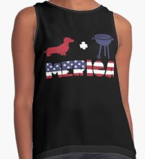 Funny Dachshund plus Barbeque Merica American Flag Blusa sin mangas