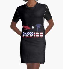 Foxplus Barbeque Merica American Flag Vestido camiseta