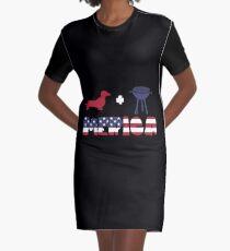 Funny Dachshund plus Barbeque Merica American Flag Vestido camiseta