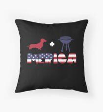 Funny Dachshund plus Barbeque Merica American Flag Cojín de suelo