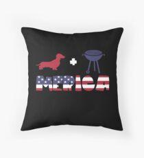 Funny Dachshund plus Barbeque Merica American Flag Cojín