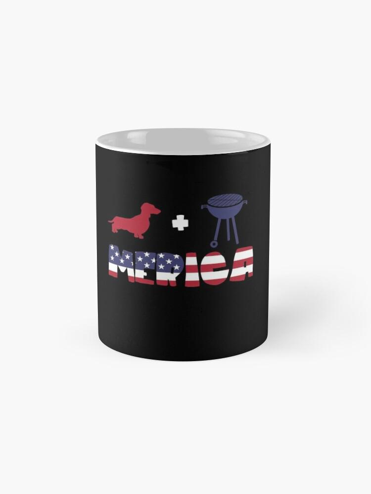 Vista alternativa de Taza Funny Dachshund plus Barbeque Merica American Flag