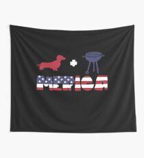Funny Dachshund plus Barbeque Merica American Flag Tela decorativa