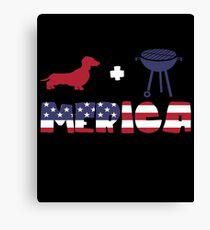 Funny Dachshund plus Barbeque Merica American Flag Lienzo