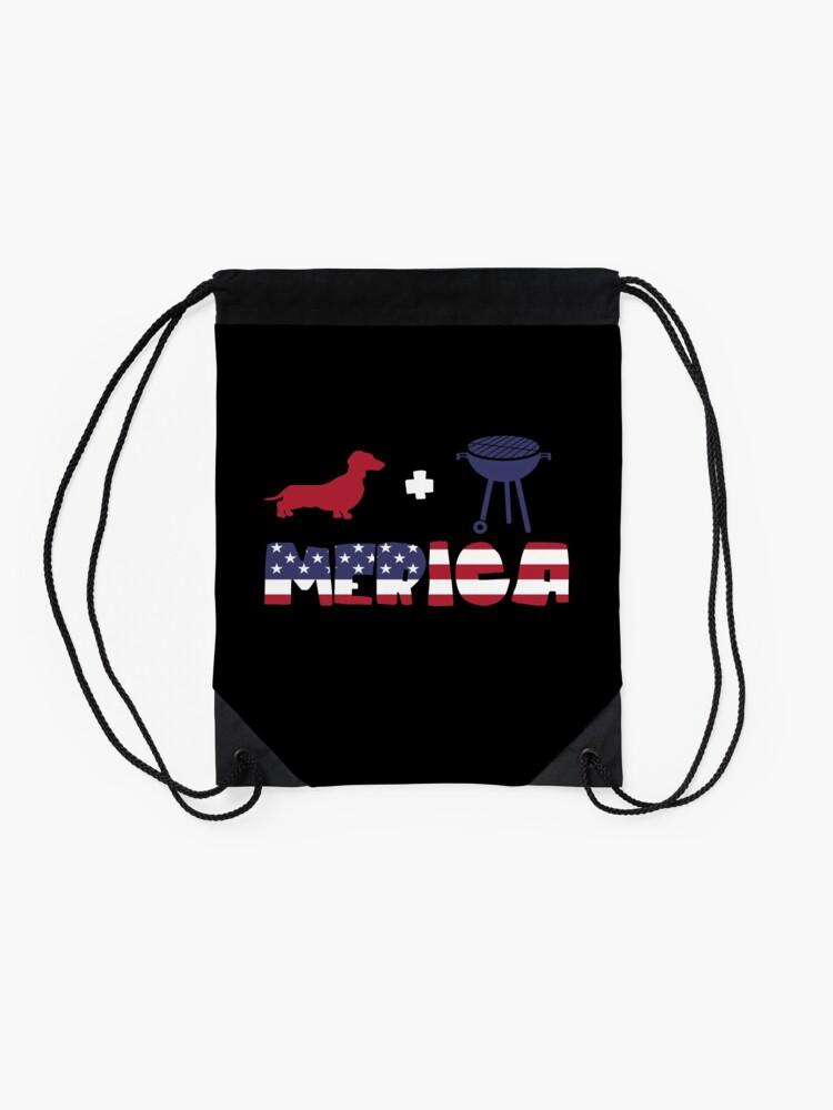 Vista alternativa de Mochila saco Funny Dachshund plus Barbeque Merica American Flag