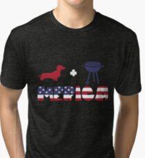 Funny Dachshund plus Barbeque Merica American Flag Camiseta de tejido mixto