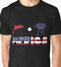 Funny Dolphin plus Barbeque Merica American Flag Camiseta gráfica