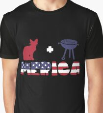 Awesome Cat plus Barbeque Merica American Flag Camiseta gráfica