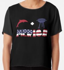 Funny Dolphin plus Barbeque Merica American Flag Blusa