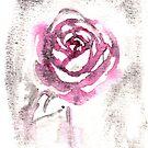 red red watercolor rose by RavensLanding