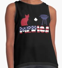 Awesome Cat plus Barbeque Merica American Flag Blusa sin mangas