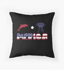 Funny Dolphin plus Barbeque Merica American Flag Cojín de suelo