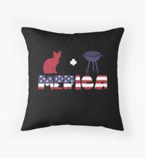 Awesome Cat plus Barbeque Merica American Flag Cojín de suelo