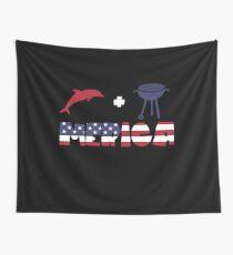 Funny Dolphin plus Barbeque Merica American Flag Tela decorativa
