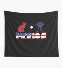 Awesome Cat plus Barbeque Merica American Flag Tela decorativa