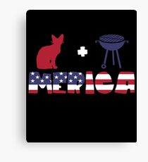 Awesome Cat plus Barbeque Merica American Flag Lienzo