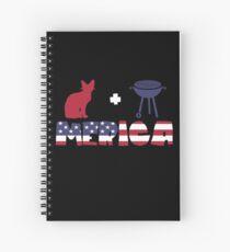 Awesome Cat plus Barbeque Merica American Flag Cuaderno de espiral