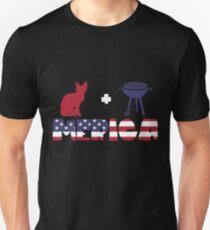 Awesome Cat plus Barbeque Merica American Flag Camiseta ajustada