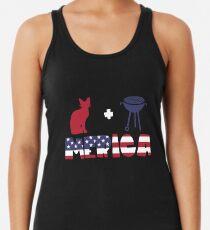 Awesome Cat plus Barbeque Merica American Flag Camiseta con espalda nadadora