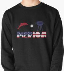 Funny Dolphin plus Barbeque Merica American Flag Sudadera sin capucha