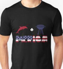 Funny Dolphin plus Barbeque Merica American Flag Camiseta ajustada