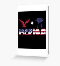 Awesome Eagle plus Barbeque Merica American Flag Tarjeta de felicitación