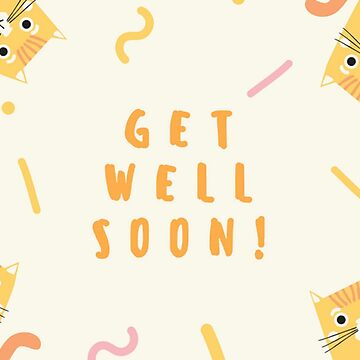 Orange Tabby Cats Get Well Soon Card by critterville
