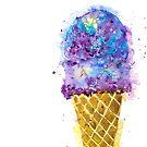Purple Ice Cream Watercolor by Jeri Stunkard
