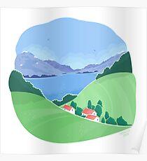 Mountain village landscape Poster