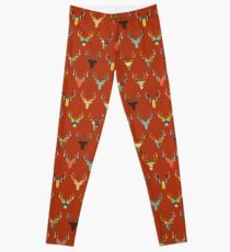 retro deer head russet Leggings