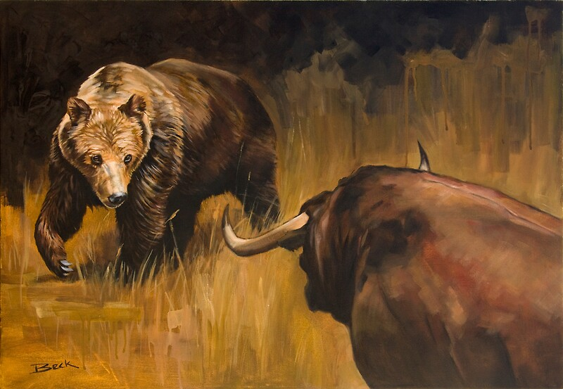 bear vs bull art prints by andrew beck redbubble