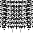 black and white art deco inspired fan pattern by VrijFormaat